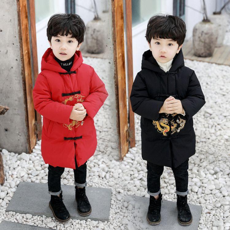 男童中国风棉服过年服童装男宝宝新年装拜年服儿童唐装外套汉服冬
