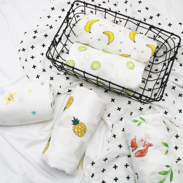 双层婴幼儿竹纤维纱布包巾muslin襁褓巾新生儿抱被竹棉包巾盖毯大
