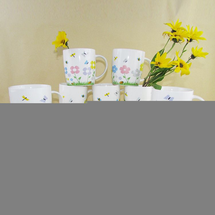 厂家供应花卉陶瓷杯新骨瓷马克杯烤花陶瓷杯广告杯出口儿童水杯子