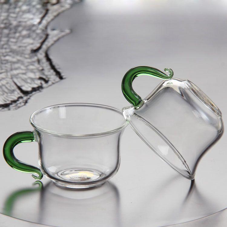 耐热玻璃小把杯带把透明玻璃水杯单层玻璃品茗杯玻璃茶具花茶杯