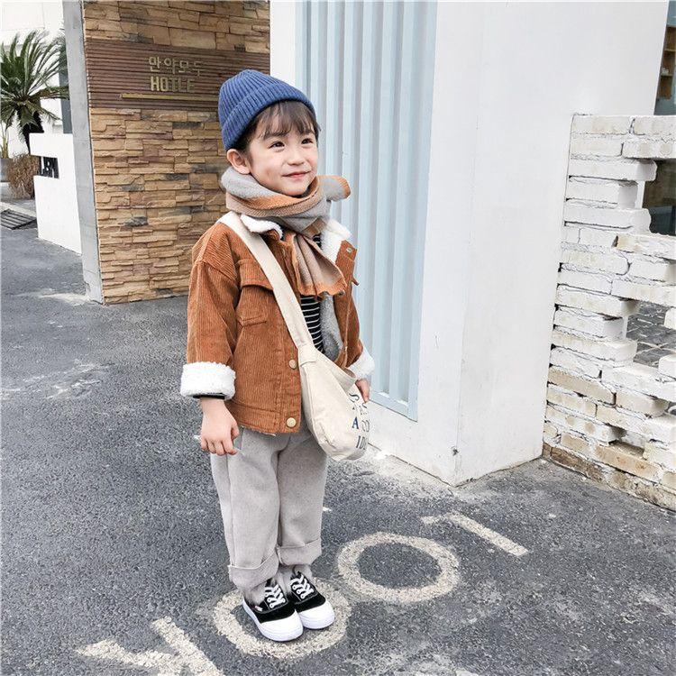 儿童灯芯绒外套加绒加厚2018冬季新款韩版女童宝宝羊羔毛夹克衫潮