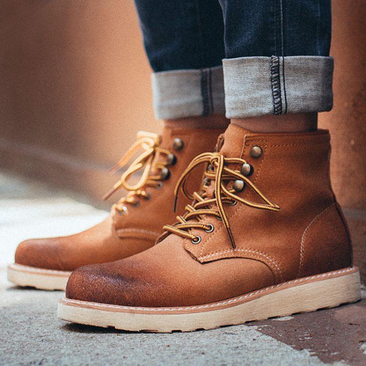 靴子男韩版潮流男士马丁靴中帮英伦百搭工装男靴高帮复古冬季男鞋