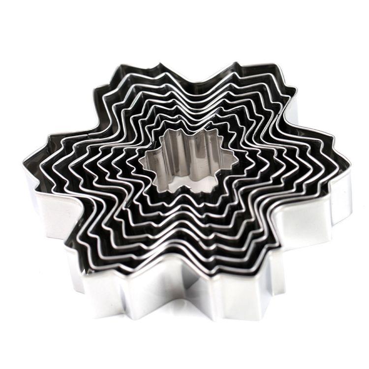 新款圣诞系列雪花九件套不锈钢翻糖蛋糕模具糖霜饼干切模烘焙工具