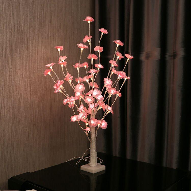 布艺桃花小树灯LED彩灯绿叶跨境电商一件代发工艺品摆台装饰