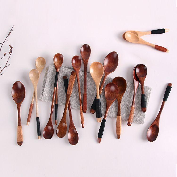 日式创意绑线木勺老漆蜂蜜勺甜点勺 咖啡搅拌勺调羹勺子一件代发