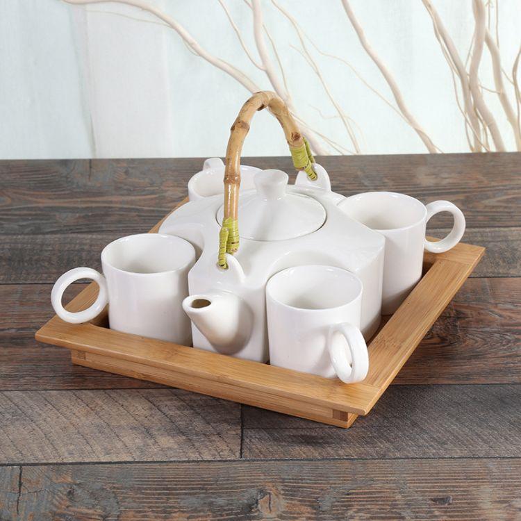 中国风复古竹子手把创意新品茶杯茶壶镶嵌型 陶瓷制品茶具套装批