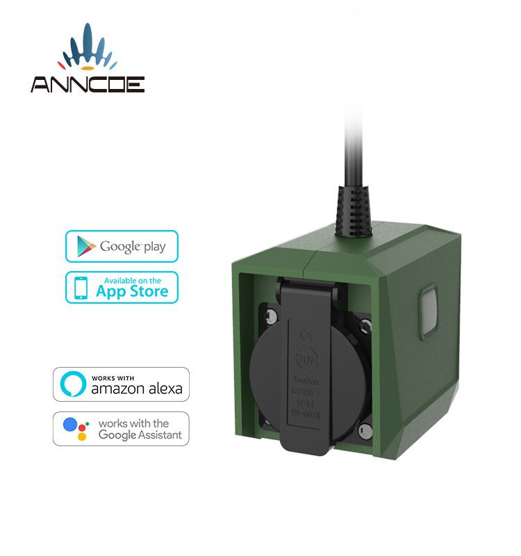 smart socket新设计IP44户外防水插座插头alexa谷歌助理语音控制
