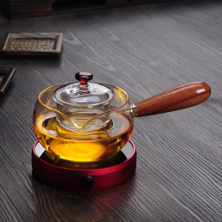 厂家促销木把玻璃煮茶壶可明火加热养生壶电陶炉玻璃侧把壶茶壶