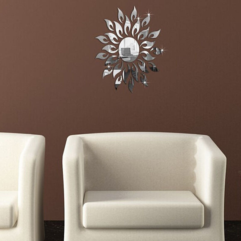 速卖通3d太阳花形墙贴 环保自粘亚克力立体客厅浴室卧室背景墙贴