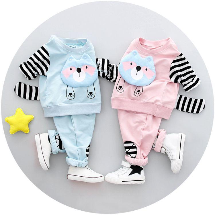 2018春季新款童套装纯棉童装厂家批发小浣熊卡通图案韩版小童套装