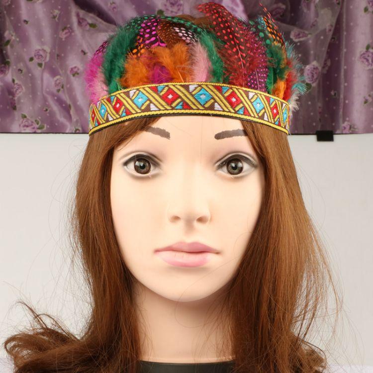 羽毛头饰珍珠羽毛发饰羽毛头带印第安酋长头饰民族风头戴大量现货