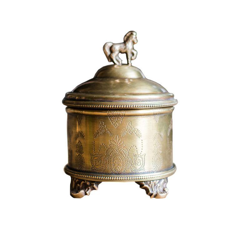 初夏印度进口纯铜小马储物罐桌面装饰摆件复古铜器收纳礼物