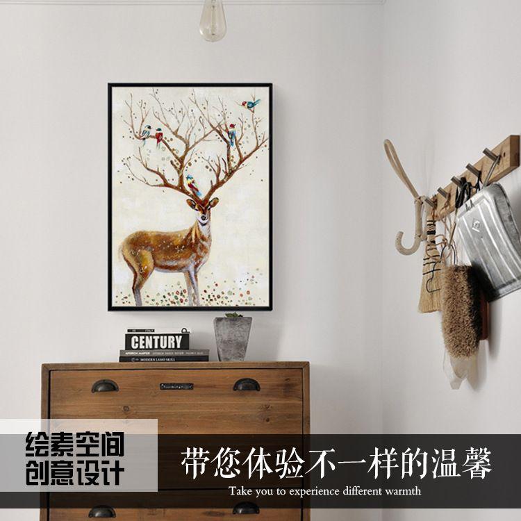 手绘麋鹿油画 油画装饰画私人定制 绘素空间手绘油画