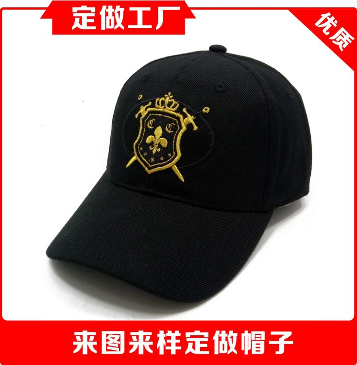 優質帽子定制工廠 羊毛料棒球帽金線刺繡logo彎檐棒球帽6片棒球帽