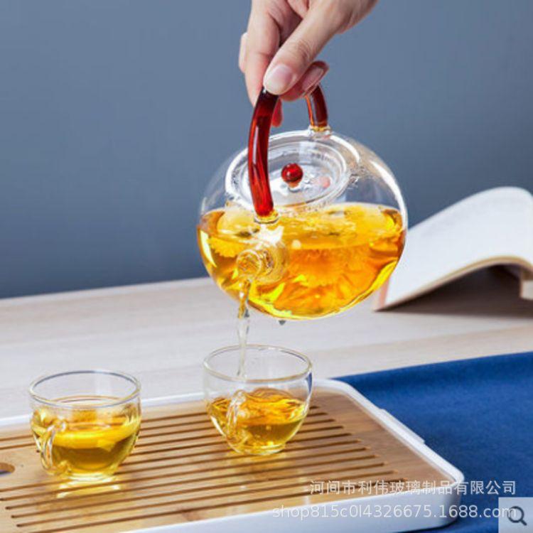 加厚耐高温玻璃提梁壶 透明手工耐热玻璃提梁壶 彩把提梁壶