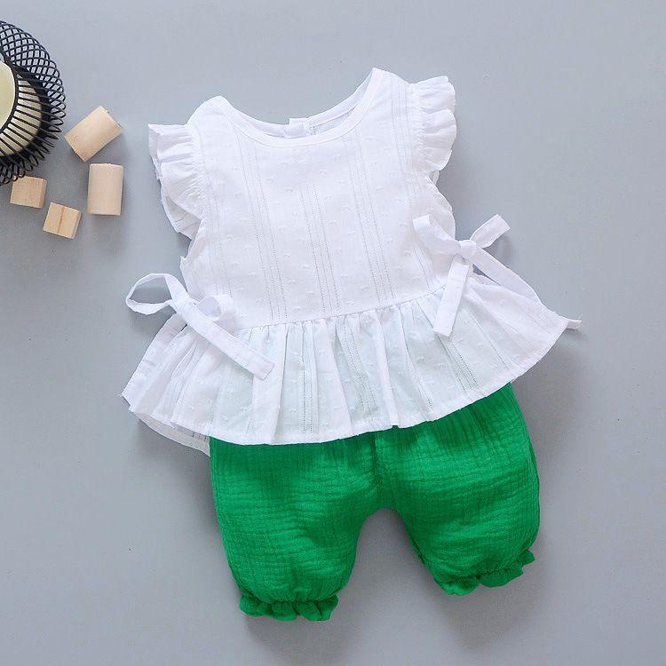 2018年新款童装韩版儿童无袖两件套 纯色上衣裤子套装特价童夏装