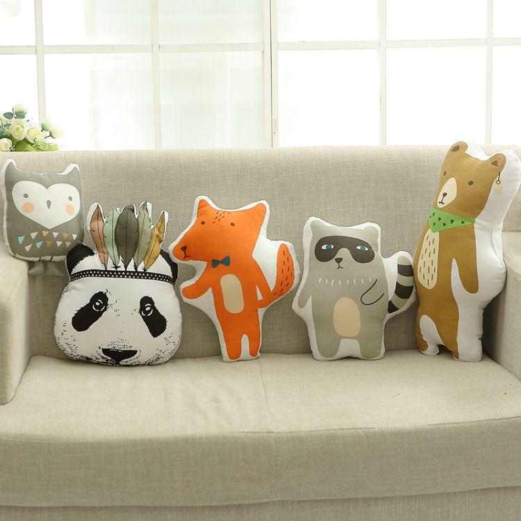 ins新款 熊猫头浣熊靠垫抱枕玩偶 宝宝房装饰亲子玩具布艺抱枕