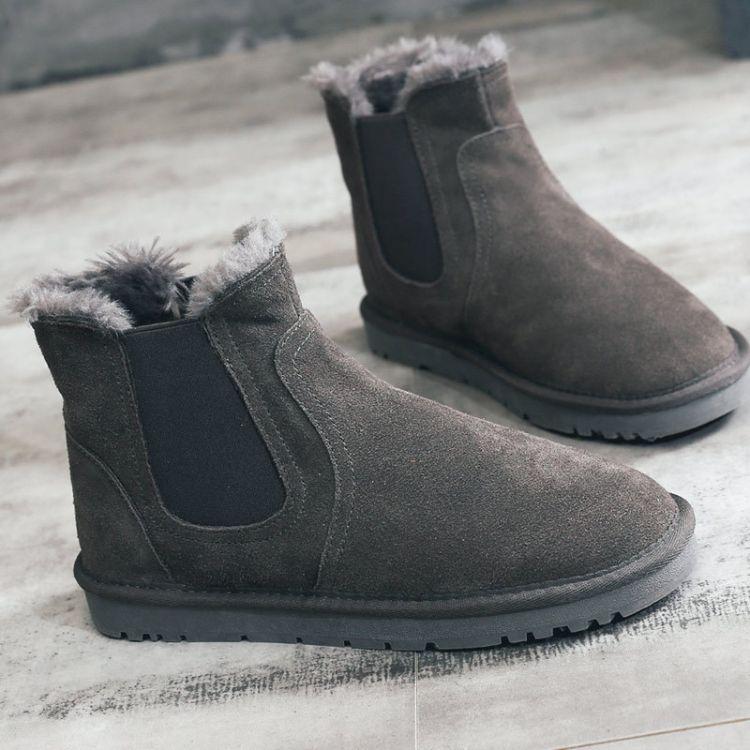 冬季男鞋加绒保暖棉鞋中帮马丁靴情侣百搭雪地靴工装高帮女靴子潮