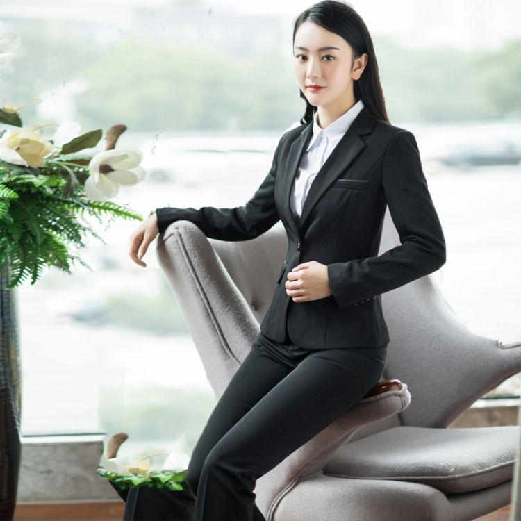 职业装女装套装春秋修身女士西服西装面试正装工作服大码工装套裤