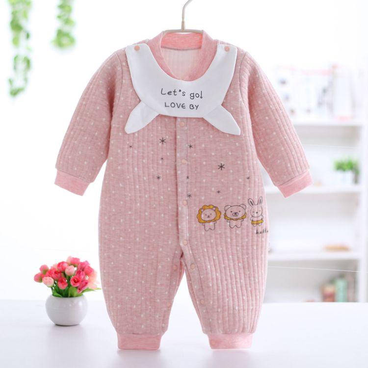 婴幼儿秋冬新款儿童保暖连体衣婴幼儿哈衣婴幼儿爬服0--12个月