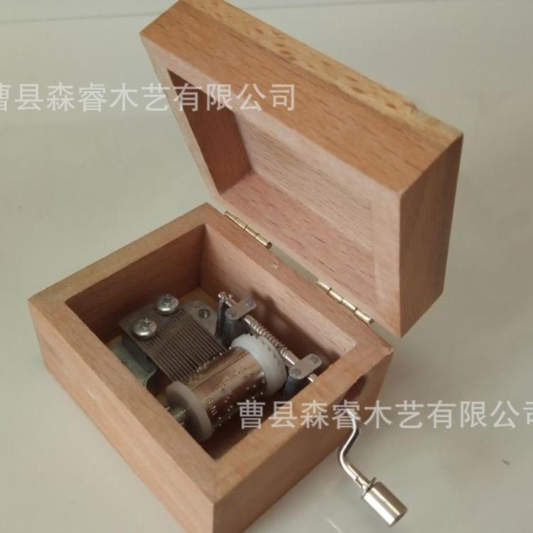 榉木手摇木制音乐盒 热卖翻盖创意木质音乐盒 工艺礼品摆件