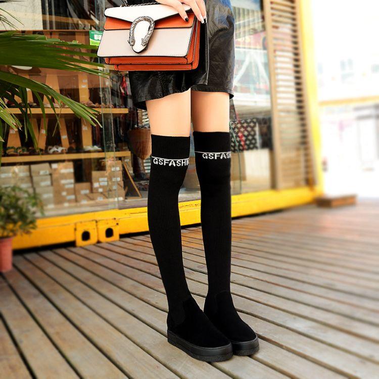 毛线靴子女2018新款内增高厚底过膝长筒靴休闲弹力针织及膝靴套筒