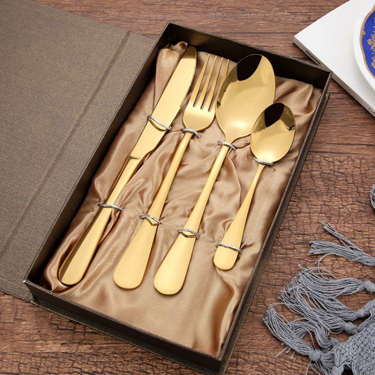 1010高档西餐具四件套装 渡色黑金色不锈钢牛排刀叉勺子跨境专供