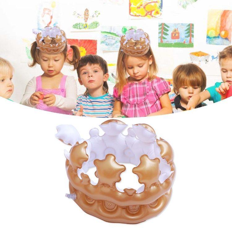厂家订做PVC充气皇冠儿童头饰装扮玩具生日帽舞会派对装饰品道具