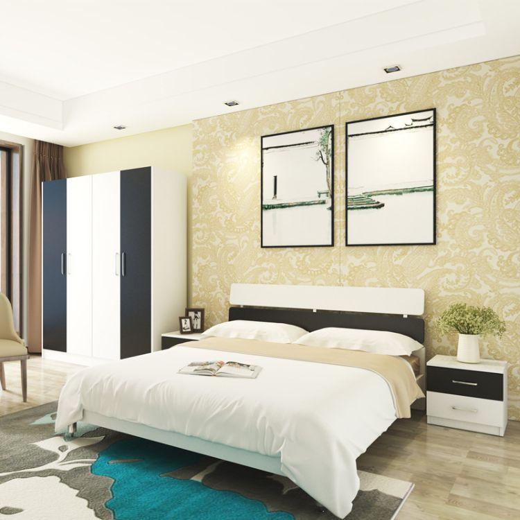 北欧床小户型卧室家具组合简约现代环保板式床1.5单人床1.8双人床