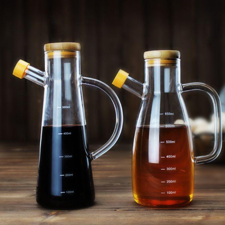 刻度玻璃油壶油瓶大小号防侧漏玻璃酱油醋瓶调料瓶 耐热玻璃油壶