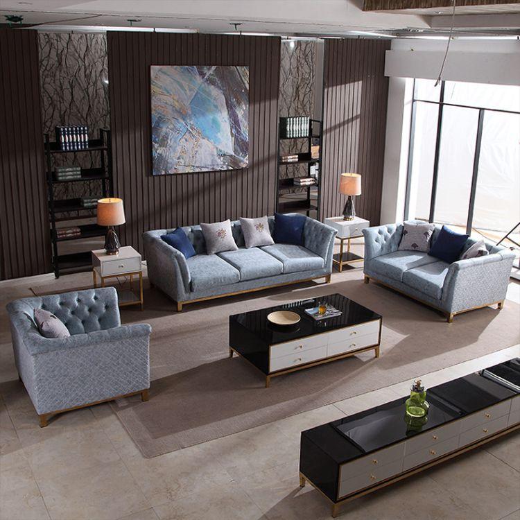 北欧简约后现代沙发 整装沙发 科技布不锈钢组装客厅卧室沙发