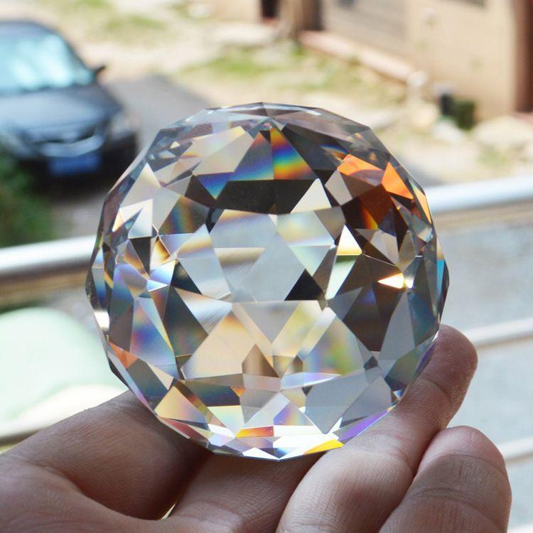 浦江厂家定制 透明水晶实心刻面球 水晶气泡球 玻璃光源灯饰挂件