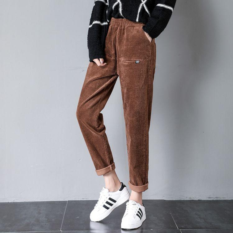 一件代发秋冬新款灯芯绒裤子宽松韩版百搭条绒显瘦休闲哈伦裤