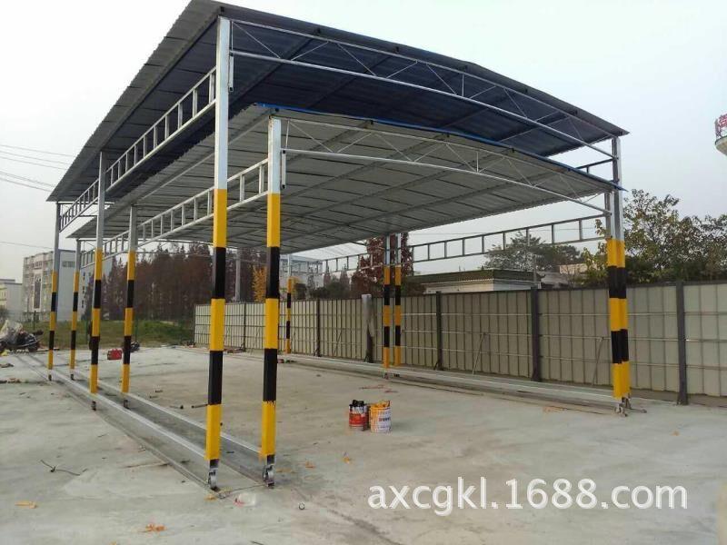 成都活动彩钢钢结构大棚 推拉移动式彩钢雨棚