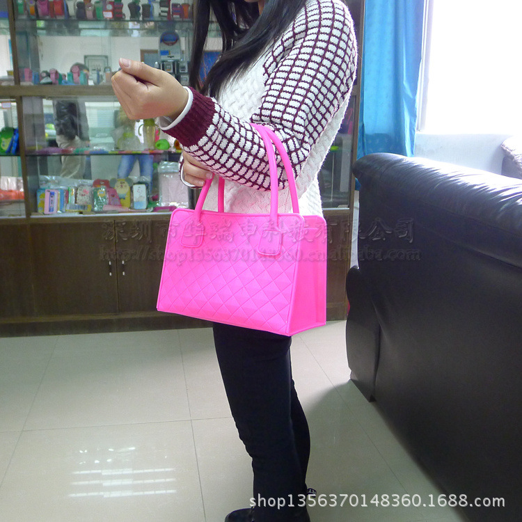 新品日韩时尚糖果色硅胶手袋 单肩包 硅胶手提包