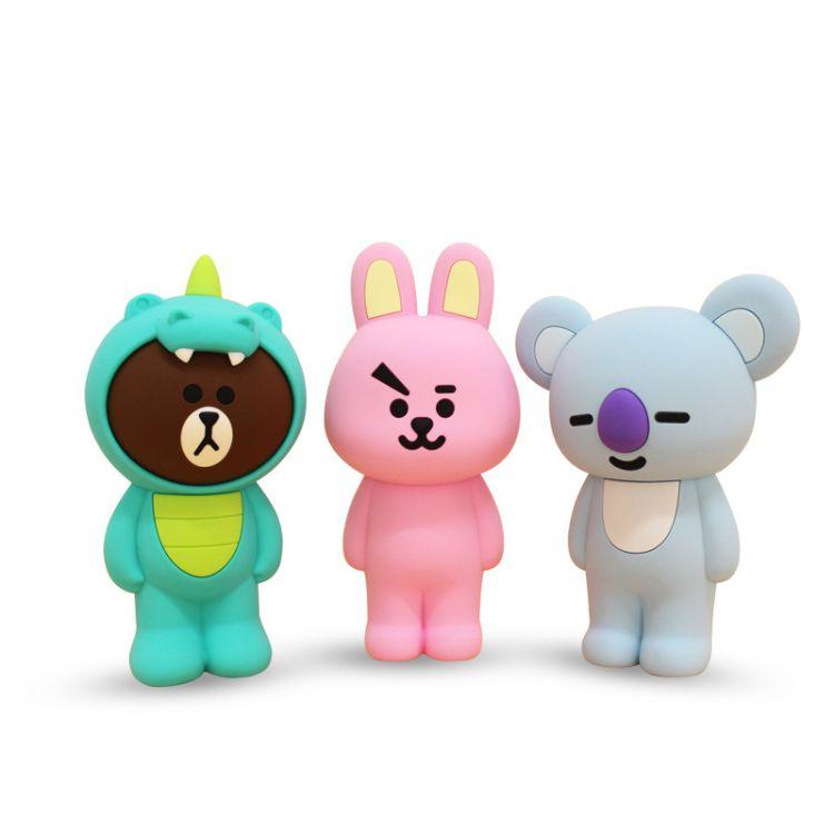 韩国原版现货硅胶拉链布朗笔袋硅胶文具盒熊硅胶立体笔袋硅胶笔袋