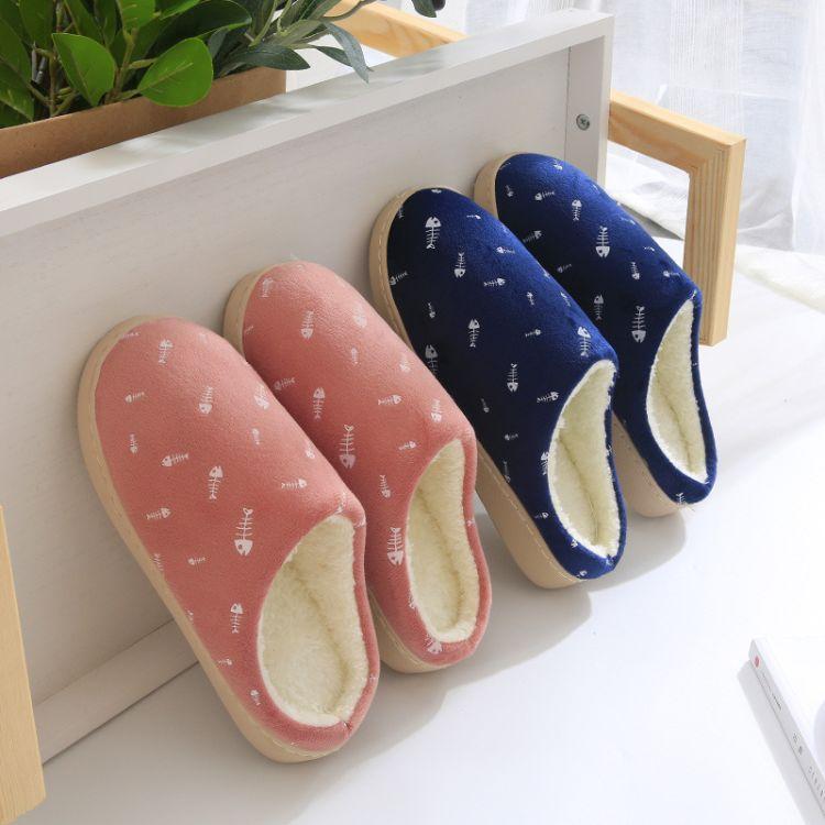 厂家直供新款棉拖鞋底包跟冬季居家居情侣保暖室内防滑月子鱼骨头