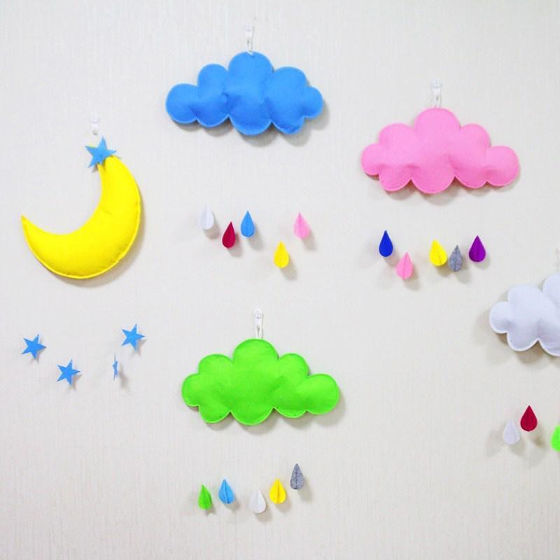毛毡星星月亮彩虹云朵挂件儿童房布置幼儿园幼儿宿舍布置装饰用品