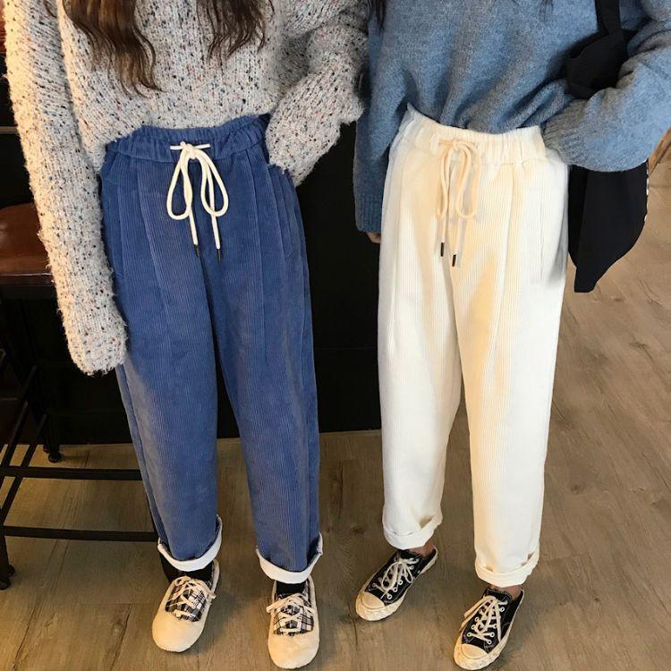 实拍2018秋冬新款宽松加绒加厚灯芯绒休闲裤高腰直筒裤阔腿裤长裤