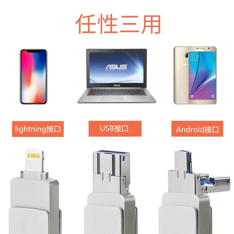 厂家批发U盘三合一手机u盘适用安卓电脑金属旋转优盘礼品定制产品