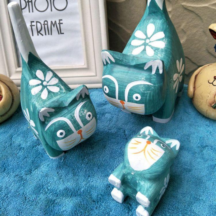 地中海风格摆件 手工木质工艺品 家居木猫创意套二桌面装饰礼品