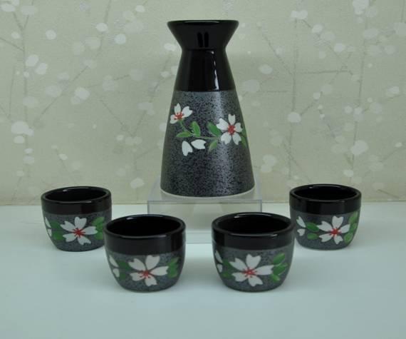 批发生产 经典黑色手绘樱花酒具 高温花土套装陶瓷酒具