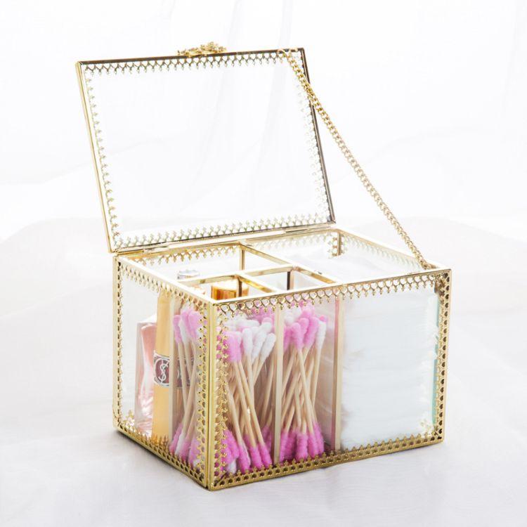 ins風玻璃化妝棉棉簽收納盒歐式客廳茶幾精致紙巾盒簡約抽紙盒