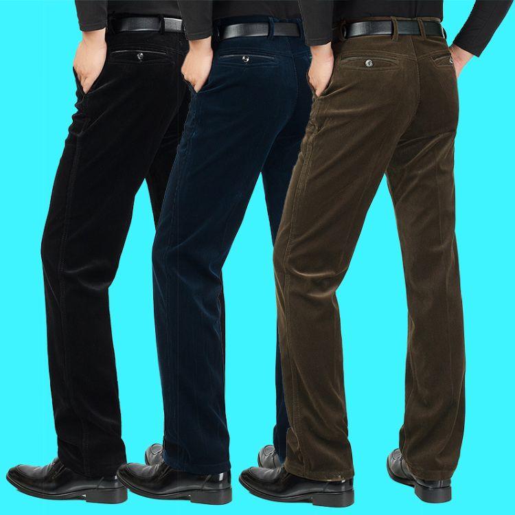 批发秋冬季灯芯绒男裤休闲裤加厚中年男式条绒裤中老年人爸爸裤子