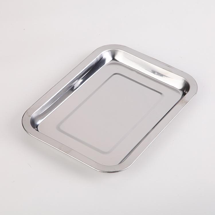 不锈钢方盘 大排档烤鱼烤肉托盘 烧烤盘 酒店餐具冲孔茶盘