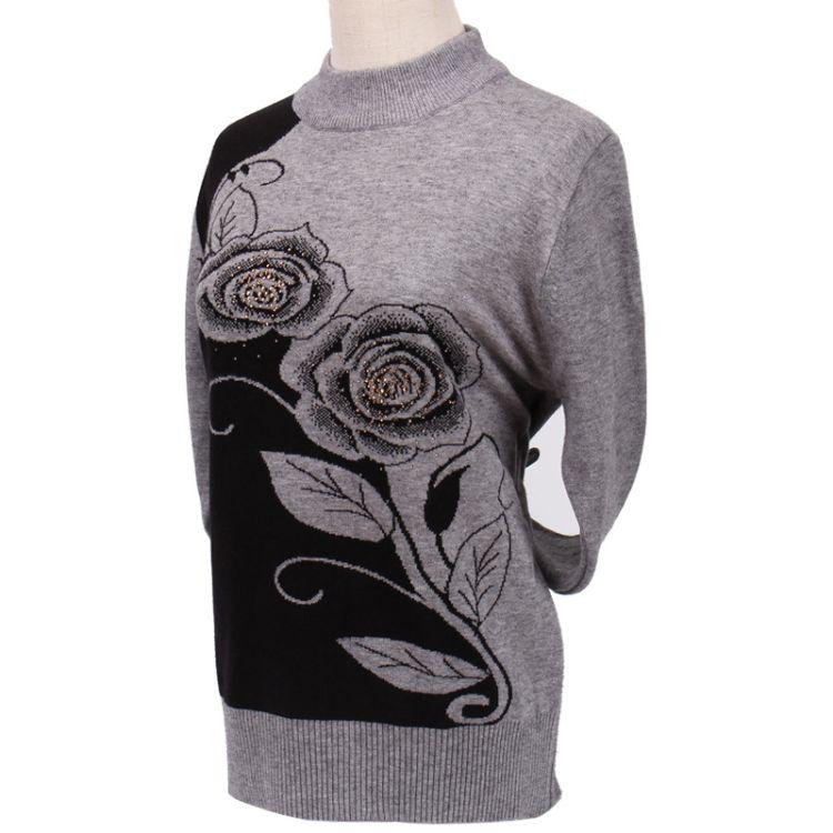厂家直销新款玫瑰提花女士针织衫 冬季时尚圆领中老年妈妈装毛衣