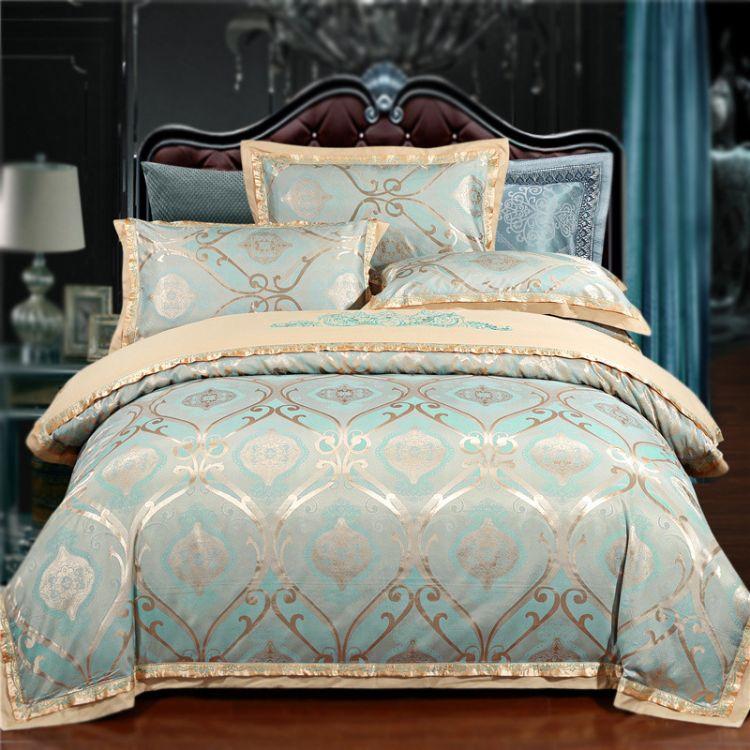欧式天丝贡缎AB款提花 四件套全棉绣花被套床单婚庆床上用品批发