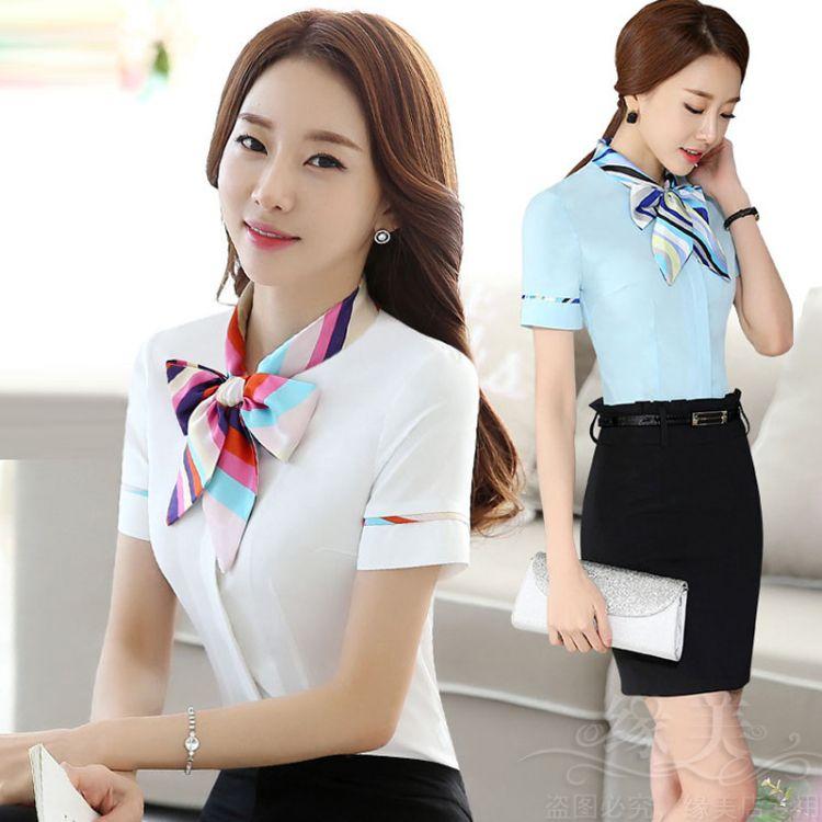 酒店工作服夏装餐厅服务员前台手机店工装短袖衬衫女空姐制服套装