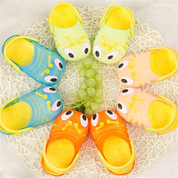一件代发2019新款儿童洞洞鞋卡通毛毛虫宝宝凉拖鞋夏季沙滩鞋