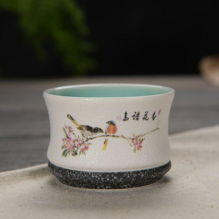 星峰瓷业陶瓷杯子德化生产厂家雪花釉定窑亚光品茗杯大号茶杯订制
